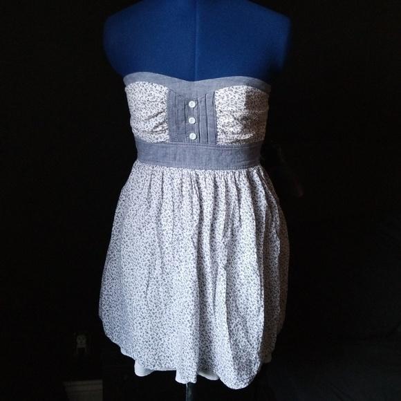 Windsor Dresses & Skirts - Light Blue and White Strapless Floral Dress